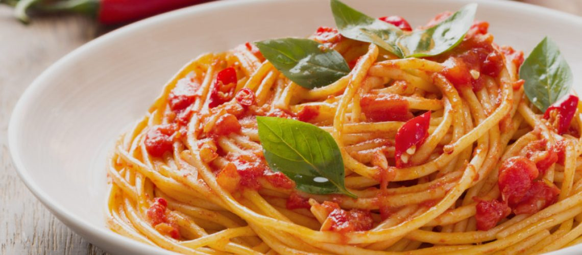 close up of rustic italian spaghetti arrabbiata pasta